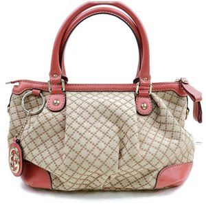 Auth Gucci Sukey Pink Canvas Hand Bag #3285G13
